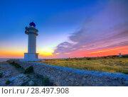 Купить «Barbaria Berberia Cape Lighthouse Formentera at sunset in Balearic Islands», фото № 28497908, снято 4 июня 2013 г. (c) Ingram Publishing / Фотобанк Лори