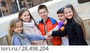 Купить «Children holding hands and giving friendship vow», фото № 28498204, снято 20 июня 2018 г. (c) Яков Филимонов / Фотобанк Лори