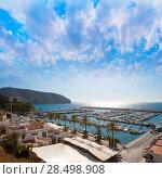 Купить «Moraira Alicante marina nautic port high angle view in Mediterranean», фото № 28498908, снято 24 февраля 2019 г. (c) Ingram Publishing / Фотобанк Лори