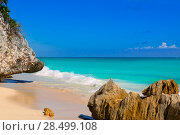 Купить «Tulum beach near Cancun turquoise Caribbean water and blue Sky», фото № 28499108, снято 3 января 2006 г. (c) Ingram Publishing / Фотобанк Лори