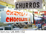 Купить «Churros and chocolate fritter typical food in Valencia Fallas fest at spain», фото № 28499132, снято 16 марта 2008 г. (c) Ingram Publishing / Фотобанк Лори