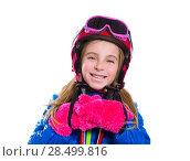 Купить «Blond kid girl happy going to snow with ski poles helmet and goggles», фото № 28499816, снято 1 февраля 2014 г. (c) Ingram Publishing / Фотобанк Лори