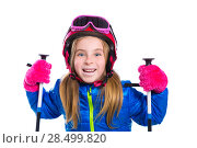 Купить «Blond kid girl happy going to snow with ski poles helmet and goggles», фото № 28499820, снято 1 февраля 2014 г. (c) Ingram Publishing / Фотобанк Лори