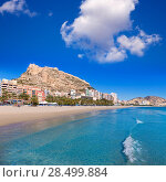 Купить «Alicante Postiguet beach and castle Santa Barbara in Spain Valencian Community», фото № 28499884, снято 21 января 2014 г. (c) Ingram Publishing / Фотобанк Лори