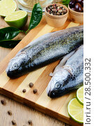 Купить «Two raw trout set on the chopping board with lime and spices», фото № 28500332, снято 20 марта 2013 г. (c) Ingram Publishing / Фотобанк Лори