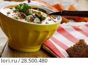 Купить «Homemade Thanksgiving Rustic Pumpkin Soup puree in ceramic Bowl», фото № 28500480, снято 30 ноября 2013 г. (c) Ingram Publishing / Фотобанк Лори