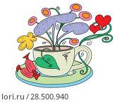 Чайная чашка с растущими из нее сказочными цветами. Стоковая иллюстрация, иллюстратор Иванов Алексей / Фотобанк Лори