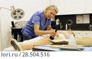 Купить «Professional cosmetician performing hardware body treatment in clinic of esthetic cosmetology», видеоролик № 28504516, снято 28 апреля 2018 г. (c) Яков Филимонов / Фотобанк Лори