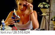 Купить «Wedding memories. Broken heart woman. Family break up.», фото № 28510624, снято 16 октября 2018 г. (c) Gennadiy Poznyakov / Фотобанк Лори