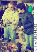 Купить «Modern man and woman at traditional flea market», фото № 28514012, снято 23 октября 2017 г. (c) Яков Филимонов / Фотобанк Лори
