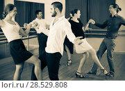 Купить «Young adults having dance class», фото № 28529808, снято 20 июля 2018 г. (c) Яков Филимонов / Фотобанк Лори