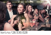 Купить «Females and males celebrating corporate», фото № 28530028, снято 20 апреля 2017 г. (c) Яков Филимонов / Фотобанк Лори