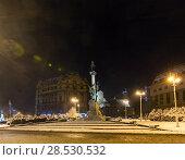 Купить «Night winter Monument to Adam Mickiewicz, Lviv city, Ukraine», фото № 28530532, снято 10 декабря 2017 г. (c) Юрий Брыкайло / Фотобанк Лори