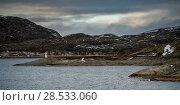 Lighthouse on coast, Bodo, Nordland, Norway. Стоковое фото, фотограф Keith Levit / Ingram Publishing / Фотобанк Лори