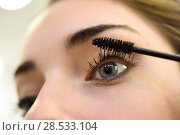 Купить «Makeup. Make-up. Applying Mascara. Long Eyelashes and blue eyes», фото № 28533104, снято 26 апреля 2016 г. (c) Ingram Publishing / Фотобанк Лори