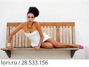 Купить «Portrait of a young black woman, model of fashion, with fantasy make up made by a professional beautician», фото № 28533156, снято 16 сентября 2012 г. (c) Ingram Publishing / Фотобанк Лори