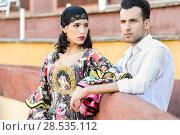 Купить «Portrait of a pretty couple, models of fashion, in a bullring. Spanish style», фото № 28535112, снято 15 декабря 2013 г. (c) Ingram Publishing / Фотобанк Лори