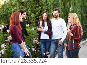 Купить «Women and men talking in the street wearing casual clothes. Group of young people together outdoors in urban background.», фото № 28535724, снято 9 октября 2016 г. (c) Ingram Publishing / Фотобанк Лори