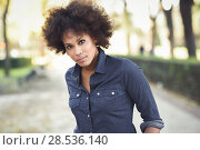 Купить «Young black woman with afro hairstyle standing in urban background. Mixed woman wearing blue shirt and shorts.», фото № 28536140, снято 10 декабря 2016 г. (c) Ingram Publishing / Фотобанк Лори
