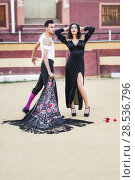 Купить «Portrait of a pretty couple, models of fashion, in a bullring. Spanish style», фото № 28536796, снято 15 декабря 2013 г. (c) Ingram Publishing / Фотобанк Лори