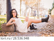 Купить «Portrait of a funny woman, model of fashion, with high heels moving her legs», фото № 28536948, снято 23 декабря 2013 г. (c) Ingram Publishing / Фотобанк Лори