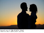 Купить «Silhouette of a young bride and groom on Sunset background», фото № 28537216, снято 6 июля 2013 г. (c) Ingram Publishing / Фотобанк Лори