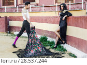 Купить «Portrait of a pretty couple, models of fashion, in a bullring. Spanish style», фото № 28537244, снято 15 декабря 2013 г. (c) Ingram Publishing / Фотобанк Лори
