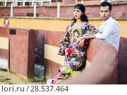 Купить «Portrait of a pretty couple, models of fashion, in a bullring. Spanish style», фото № 28537464, снято 15 декабря 2013 г. (c) Ingram Publishing / Фотобанк Лори