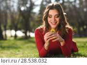 Купить «Portrait of young woman rest in the park smiling with a dandelion in her hair, lying on the grass», фото № 28538032, снято 10 марта 2015 г. (c) Ingram Publishing / Фотобанк Лори