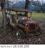 Купить «Abandoned rusty jeep in field, Pemberton, Whistler, British Columbia, Canada», фото № 28538200, снято 22 марта 2016 г. (c) Ingram Publishing / Фотобанк Лори