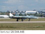 Купить «Российский многоцелевого истребителя пятого поколения Су-57( ПАК ФА, Т-50) на взлетной полосе, Международный авиационно-космический салон МАКС-2015», фото № 28544448, снято 23 августа 2015 г. (c) Малышев Андрей / Фотобанк Лори