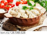 Купить «Dumplings in the pot», фото № 28548028, снято 19 февраля 2018 г. (c) Надежда Мишкова / Фотобанк Лори