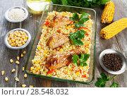 Купить «Chicken legs baked with rice and vegetables», фото № 28548032, снято 25 февраля 2018 г. (c) Надежда Мишкова / Фотобанк Лори