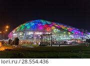 Купить «Sochi, Russia - May 29. 2018. Fisht is football stadium in the evening with lights», фото № 28554436, снято 29 мая 2018 г. (c) Володина Ольга / Фотобанк Лори