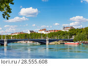 Купить «Lafayette bridge across the Rhone River in Lyon», фото № 28555608, снято 14 июля 2017 г. (c) Сергей Новиков / Фотобанк Лори