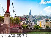 Купить «Footbridge leading to St. Georges church in Lyon», фото № 28555716, снято 14 июля 2017 г. (c) Сергей Новиков / Фотобанк Лори