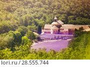 Купить «Aerial view of Senanque abbey in Provence», фото № 28555744, снято 18 июля 2017 г. (c) Сергей Новиков / Фотобанк Лори