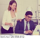 Купить «Sexual harassment between colleagues», фото № 28558612, снято 1 июня 2017 г. (c) Яков Филимонов / Фотобанк Лори