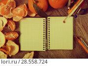 Купить «detailed notebook by mandarins», фото № 28558724, снято 10 декабря 2018 г. (c) Яков Филимонов / Фотобанк Лори