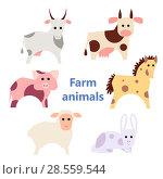 Купить «Set of farm animals white», иллюстрация № 28559544 (c) Helen Burceva / Фотобанк Лори