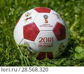 Футбольный мяч с символикой Чемпионата мира по футболу 2018 года в России лежит на зелённом газоне. Редакционное фото, фотограф Игорь Низов / Фотобанк Лори