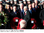 Купить «The Queen, along with other senior members of the Royal Family, lead the national tribute to the fallen at the Cenotaph on Remembrance Sunday Featuring...», фото № 28572988, снято 13 ноября 2016 г. (c) age Fotostock / Фотобанк Лори