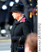 Купить «The Queen, along with other senior members of the Royal Family, lead the national tribute to the fallen at the Cenotaph on Remembrance Sunday Featuring...», фото № 28573012, снято 13 ноября 2016 г. (c) age Fotostock / Фотобанк Лори