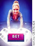 Купить «Bet button and woman in casino», фото № 28576424, снято 27 июня 2019 г. (c) Wavebreak Media / Фотобанк Лори