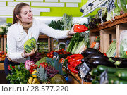 Купить «Woman looking for vegetables in farmers market», фото № 28577220, снято 13 февраля 2018 г. (c) Яков Филимонов / Фотобанк Лори