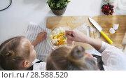 Купить «Mom with her daughter makes dough for cottage cheese pancakes - top view», видеоролик № 28588520, снято 22 сентября 2018 г. (c) Константин Шишкин / Фотобанк Лори