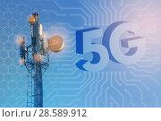 Купить «Concept of wireless radio Internet. 5G mobile technologies.», фото № 28589912, снято 15 июня 2018 г. (c) Александр Якимов / Фотобанк Лори