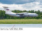 Купить «Ил-76МД (бортовой RF-78805) на посадке, аэродром Мигалово, Тверь», эксклюзивное фото № 28592356, снято 10 июня 2018 г. (c) Alexei Tavix / Фотобанк Лори