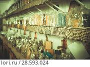 Купить «Glass cans with many different dry spices standing», фото № 28593024, снято 13 июня 2017 г. (c) Яков Филимонов / Фотобанк Лори