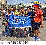 Купить «2018 FIFA World Cup. Fans before match Colombia - Japan. Москва», фото № 28599316, снято 17 июня 2018 г. (c) Валерия Попова / Фотобанк Лори